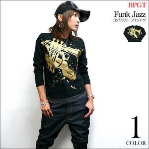 hw003lt - Funk Jazz(ファンク ジャズ) ロングスリーブTシャツ -G-( ファンキー ブルース ファンク スウィング ブラック 黒系 )