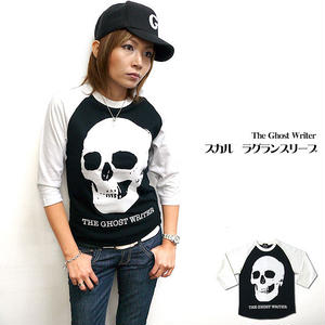 tgw013rg - スカル ラグランスリーブTシャツ -G- パンク ロック ドクロ 7 分袖 メンズ レディース アメカ ジ
