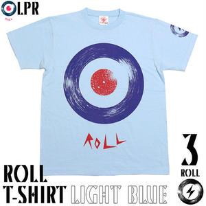 予約販売中☆ a08tee-lbu - ROLL ( ロール ) Tシャツ ( ライトブルー ) -G- モッズ ROCK ロックTシャツ アナログ盤 半袖 メンズ レディース