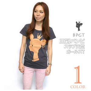 sp001sgt - 王冠バンビ スラブ天竺 ガールズTシャツ - BPGT -G- 子鹿 ばんび bambi アニマル ロゴ カットソー