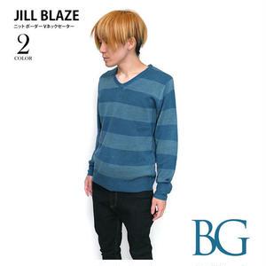 jb20095 - ニット ボーダー Vネックセーター - JILL BLAZE -G-( ニットソー アメカジ カジュアル )