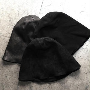STRETCH LEATHER KNIT CAP