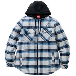 COCOLO BLAND / QUILTED FLANNEL ZIP HOODIE (BLUE)