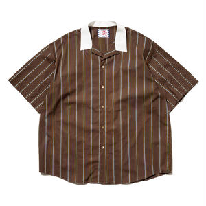 SON OF THE CHEESE | Stripe Cleric Shirt (BROWN)