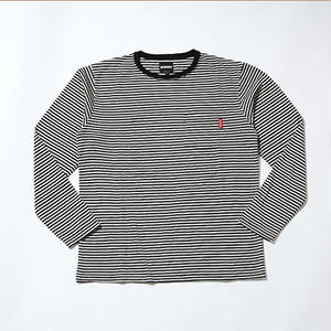 Oh!theGuilt | WOOL BLEND POCKET BORDER L/S T-SHIRT(ブラック/ホワイト)