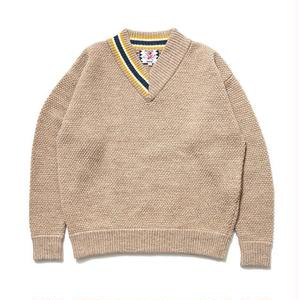 SON OF THE CHEESE | HALF V sweter (BEIGE)