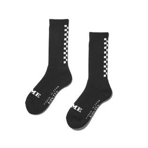 坩堝 | RUTSUBO×I&ME  BACK CHECKER SOCKS (BLACK)