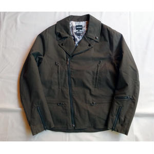 Oh!theGuilt:STRETCH TWILL RIDERS JACKET(オリーブ/ブラックファスナー)