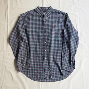 USED(古着)POLO チェックシャツ(ブルー/レッドチェック)