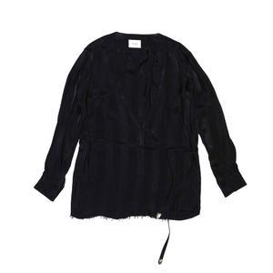 V Neck Strap Shirt. -Cupro Stripe-