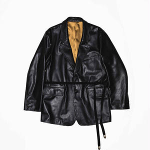 Single Breasted Strap Jacket.  -Cow Hide-