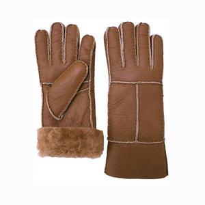羊毛皮100%  ムートン レディースファー手袋(キャメル)-5営業日以内に発送-