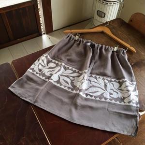 トゥクステ刺繍スカート グレー