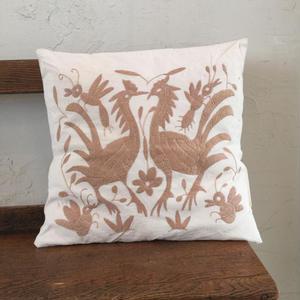 オトミ刺繍クッションカバー light brown
