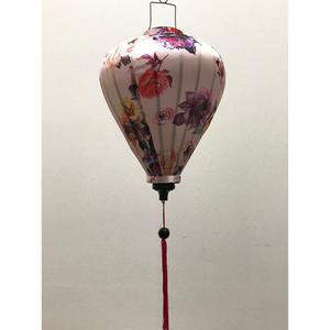 ベトナムランタン ほおずき形 Lサイズ メタリック調ピンク【バラ柄】