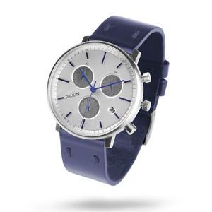 PAULIN:ポーリン《C201D-NV-B マットシルバー/ネイビー》腕時計 英国製クロノグラフ
