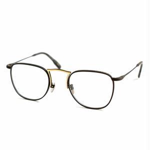 OG × OLIVER GOLDSMITH:オージーバイオリバーゴールドスミス《Door -ドア col.012 MatBlack YellowGold》 眼鏡 ウエリントン