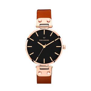 MOCKBERG:モックバーグ《MO115 VILDE BLACK Rose Gold/Black/Brown》腕時計 レザーバンド