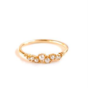 sowi:ソーイ 《Petit Blane Pearl Ring - K10》プチブラン パール・ダイヤリング