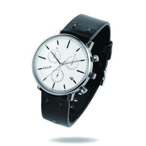 PAULIN:ポーリン《C201E-BL-B シルバー/ブラック》腕時計 英国製クロノグラフ