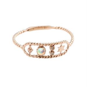 AURORA GRAN:オーロラグラン 《フィムリング K10YG リング》  ダイヤモンド/オパール