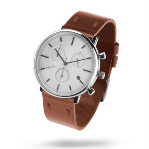 PAULIN:ポーリン《C201E-BR-B シルバー/ブラウン》腕時計 英国製クロノグラフ