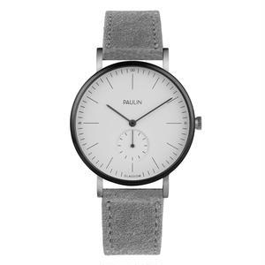PAULIN:ポーリン《TO100A-LG-S ホワイト/スエード ライトグレー》腕時計 英国製ウォッチ