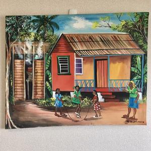 特大ジャマイカ ペイント A.Stephenson 田舎の家風景(ジャマイカ絵画)