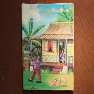 ジャマイカ A.Stephenson 田舎 ペイント (家、オジさん、バナナ、子供、犬etc)