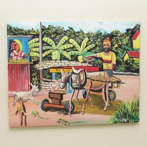ジャマイカ 田舎 ペイント (ロバ、オジさん、砂糖黍、ヤギ、オバさん、バナナetc)