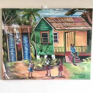 特大ジャマイカ ペイント A.Stephenson 田舎の家風景(ジャマイカ絵画)  ※破れアリ