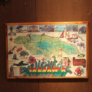 ジャマイカ ビンテージ 地図 ウッド ウォールデコ