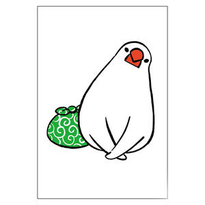 ポストカード(ふろしき文鳥B)