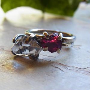 レッドスピネル ハーキマーダイヤモンド セットリング