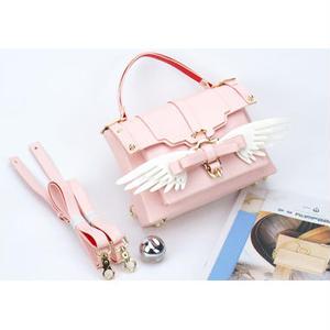 BOW BUCKLE BAG 3way m size 二つリボンリボンセット 配色翼リボン+ONE(7種類のリボンの中で、ご自由に一つリボンを選び) ピンク桜