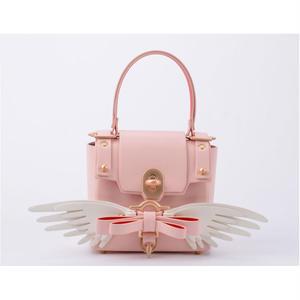 BOW BUCKLE 3PM BAG 2way mini wide size  二つリボンリボンセット 配色翼リボン+ONE(8種類のリボンの中で、ご自由に一つリボンを選び) ピンク桜
