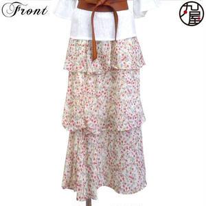 小花3段ロングスカート