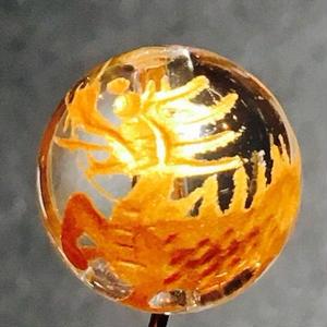 水晶彫ビーズ(金彫)麒麟 12mm