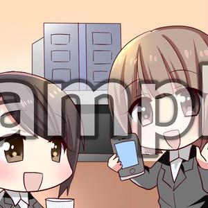 OLが人気アプリを女上司に紹介(マンガ広告素材3枚)