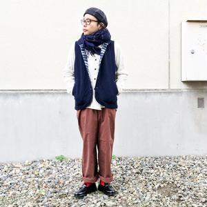 新色!ユニセックス*MASTER&Co*マスターアンドコー★Long Chino Pant with Belt オフィサーチノ(ブラウン) 男性着用