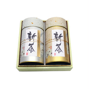 宇治新茶 上煎茶180g缶+特上煎茶180g缶和紙箱入り