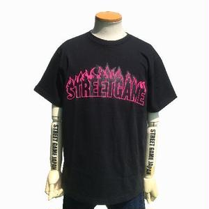 STREET GAME T-Shirts / Fire (Soft Body) (black / neon pink)
