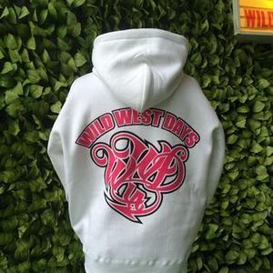 WWD zip hood / WWD LA BACKPRINT (Color: White / Pink)