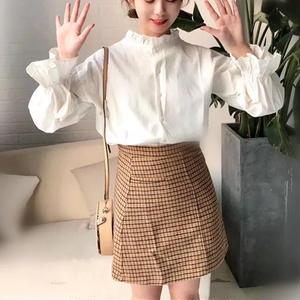 フリルシャツ 綿 長袖 春コーデ ゆったり 二色