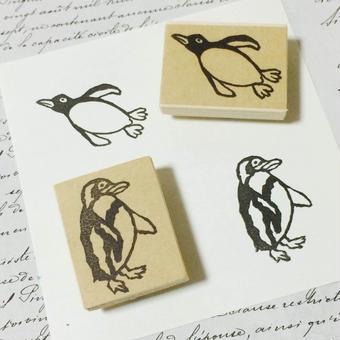 【カワハラ サキコ】消しゴムはんこ/ペンギン