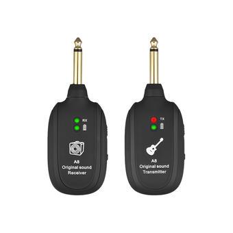【送料無料!】エレキギターベース用UHFギターワイヤレスシステムトランスミッターレシーバー 内蔵充電式リチウム電池最大/ 50M伝送範囲