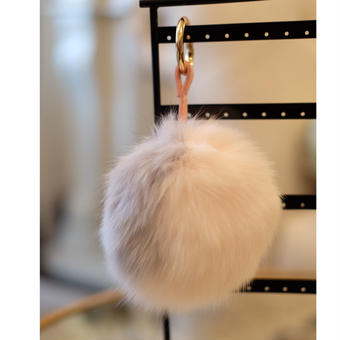 AKURAROBE Fur POMPOM ファーポンポン PinkxGrey