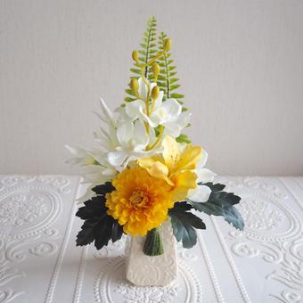 ●新作 お供え花【モダン 仏花】癒されピースイエロー& ホワイト * プレミアム舞花 B29