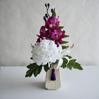 ●お供え花【モダン 仏花】優美マゼンタ& ホワイト*プレミアム舞花 B45