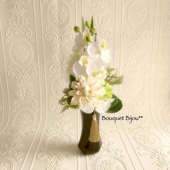 新作 *モダンテイスト【仏花】ホワイト×グリーン*蝶花B16